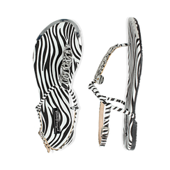 Sandali infradito flat zebra print in microfibra, con catenelle, Primadonna, 134909285MFZEBR036, 003 preview