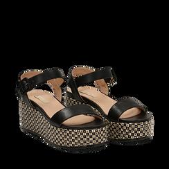 Sandali platform neri in eco-pelle, zeppa intrecciata 6,50 cm , Scarpe, 134938301EPNERO035, 002a