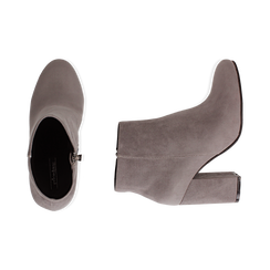 Ankle boots grigi in microfibra, tacco 9 cm , Stivaletti, 142708221MFGRIG035, 003 preview