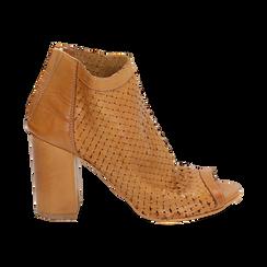 Botines open toe en vitello color cuero, tacón 9 cm, Zapatos, 15A217013VICUOI036, 001 preview