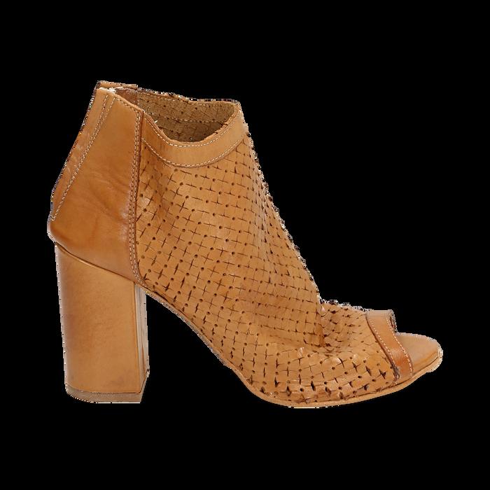 Ankle boots open toe cuoio in pelle di vitello, tacco 9 cm, Scarpe, 15A217013VICUOI036