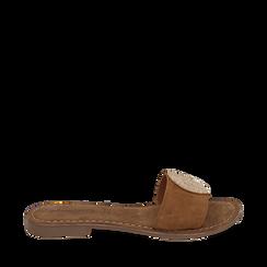 Ciabatte cuoio in camoscio , Zapatos, 15K808250CMCUOI036, 001a