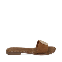 Ciabatte cuoio in camoscio , Chaussures, 15K808250CMCUOI035, 001a