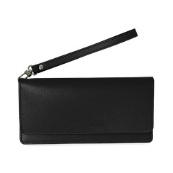 Portafoglio nero in eco-pelle con laccetto per il polso, Borse, 133723651EPNEROUNI, 001 preview