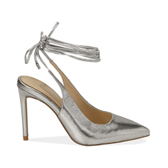 Slingback argento in eco-pelle laminata, tacco 10 cm , Primadonna, 152120715LMARGE035, 001 preview