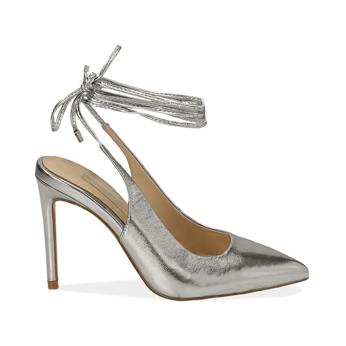 Slingback argento laminato, tacco 10 cm, Primadonna, 152120715LMARGE037