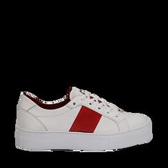 Sneakers bianco/rosse in pelle, Primadonna, 137720413PEBIRO035, 001a