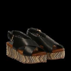 Sandali platform neri in eco-pelle, zeppa intrecciata 5 cm, Primadonna, 132117952EPNERO036, 002a