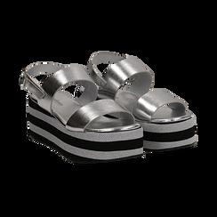 Sandali platform argento in eco-pelle, zeppa 6 cm , Saldi, 132175017LMARGE036, 002 preview