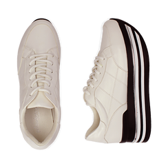 Sneakers platform bianche in eco-pelle, Scarpe, 149361611EPBIAN035, 003 preview