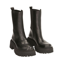 Ankle boots neri in pelle, tacco 5,5 cm , Primadonna, 187204401PENERO035, 002 preview