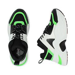 Dad shoes nero/verdi in tessuto tecnico, zeppa 8 cm , Scarpe, 147580471TSNEVE035, 003 preview