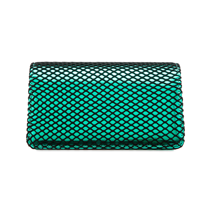 Pochette verde a rete in ecopelle effetto specchio, Primadonna, 123308810SPVERDUNI