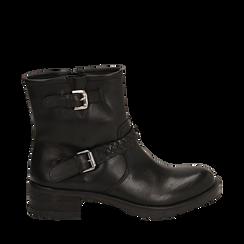 Biker boots neri con fibbie in pelle, tacco 4 cm , Stivaletti, 146262008PENERO035, 001a