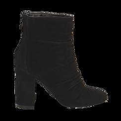 Ankle boots neri in camoscio, tacco 10 cm , Stivaletti, 14D601211CMNERO035, 001a