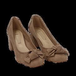 Escarpins beige en microfibre avec noeud, talon 5,50 cm , Chaussures, 152182281MFBEIG036, 002a