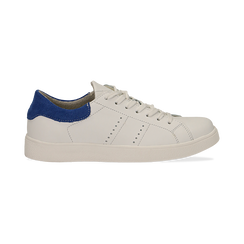 Sneakers bianche in vera pelle e dettaglio blu in camoscio, Scarpe, 131611783PEBIBL036, 001 preview