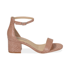 Sandali nude stampa pitone tacco 5,50 cm, OUTLET, 152707031PTNUDE040, 001 preview