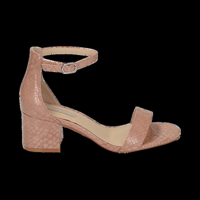 Sandali nude stampa pitone tacco 5,50 cm, OUTLET, 152707031PTNUDE040