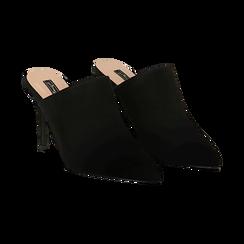 Mules nere in microfibra, tacco 9 cm, Scarpe, 134988743MFNERO036, 002 preview
