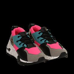 Sneakers fucsia in tessuto tecnico con dettagli leopard, zeppa 6,50 cm, Scarpe, 14D814201TSFUCS035, 002a