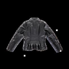 Giacca corta nera ecopelle, collo alla coreana, Abbigliamento, 126500914EPNERO, 006 preview