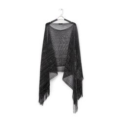 Poncho nero in tessuto laminato , Abbigliamento, 13B445057LMNEROUNI, 001 preview