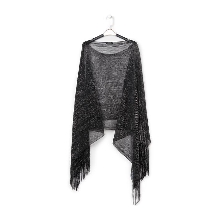 Poncho nero in tessuto laminato , Abbigliamento, 13B445057LMNEROUNI