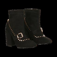 Tronchetti neri maxi-fibbia, tacco 10,5 cm, Primadonna, 122168092MFNERO037, 002 preview