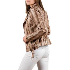 Biker jacket beige stampa cocco, Abbigliamento, 156501164CCBEIG3XL, 002a