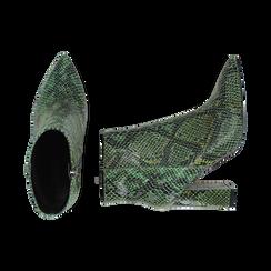 Ankle boots verdi in eco-pelle stampa pitone, tacco 9,5 cm , Primadonna, 142186672PTVERD035, 003 preview