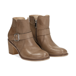 Ankle boots taupe in eco-pelle con gambale traforato, tacco 7 cm, Scarpe, 130682987EPTAUP040, 002 preview
