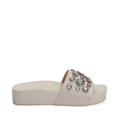 Zeppe bianche in eco-pelle con gemme, zeppa 4 cm, Primadonna, 115160026EPBIAN035, 001a