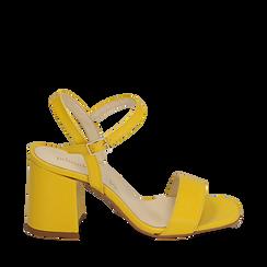 Sandalo giallo in eco-pelle, tacco 8 cm, Scarpe, 136119006EPGIAL035, 001a