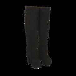 Overknee con plateau neri in microfibra, tacco 13,5 cm , Stivali, 142103015MFNERO035, 002a