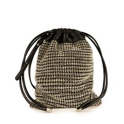 Mini seau en simili-cuir noir avec des strass, Primadonna, 15F520055ETNEROUNI, 001a