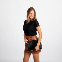 Clutch nera in ecopelle con profilo mini-borchie, Saldi, 123308330EPNEROUNI, 005 preview