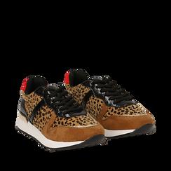 Sneakers leopard marroni in eco-cavallino, Scarpe, 142008377CVLEMA035, 002a