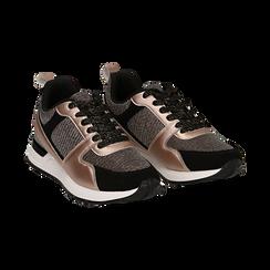 Sneakers oro rosa glitter con dettagli in eco-pelle, Scarpe, 14D814301GLRAOR036, 002 preview