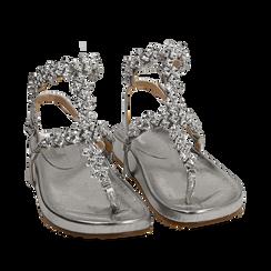 Sandali infradito gioiello argento in eco-pelle laminata, Chaussures, 154951992LMARGE036, 002a