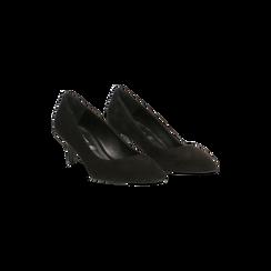 Décolleté nere Kitten heels in vero camoscio, tacco 3 cm, 12D617210CMNERO035, 002