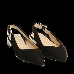 Slingback plate noir en microfibre, Chaussures, 154987411MFNERO035, 002a