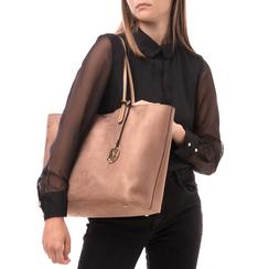 Maxi-bag taupe in microfibra, Borse, 145786295MFTAUPUNI, 002a