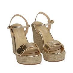 Sandalias doradas laminadas, cuña 12 cm, 172108248LMOROG037, 002a