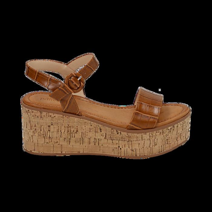 Sandali cuoio stampa cocco, zeppa 7,50 cm, Scarpe, 154967318CCCUOI