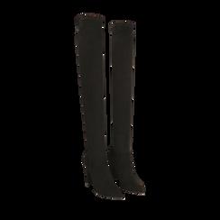 Overknee a punta neri in microfibra, tacco 10 cm , Stivali, 142172635MFNERO035, 002a