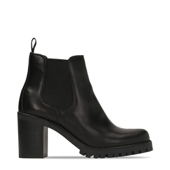 Chelsea Boots neri in vera pelle, tacco alto 7,5 cm, Primadonna, 127723802PENERO035, 001a