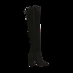 Stivali sopra il ginocchio neri, tacco 10,5 cm,