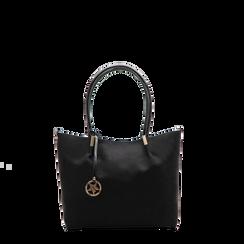 Maxi-bag a spalla nera in microfibra scamosciata, Saldi, 125702033MFNEROUNI, 001a