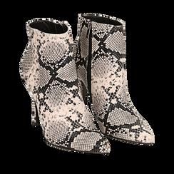 Ankle boots beige/neri effetto snake, tacco 11 cm , Stivaletti, 142182015PTBENE035, 002a